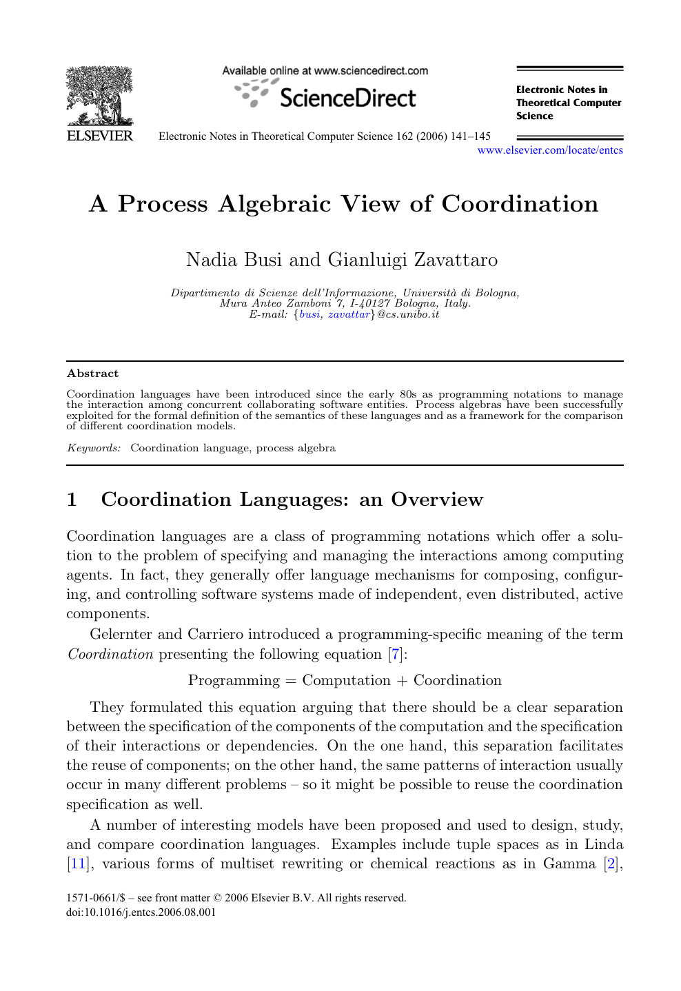 A Process Algebraic View Of Coordination Topic Of Research