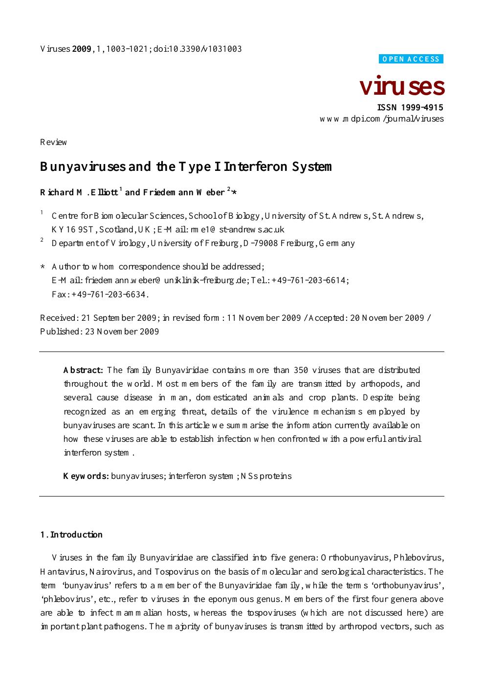 Bunyaviruses and the Type I Interferon System – topic of