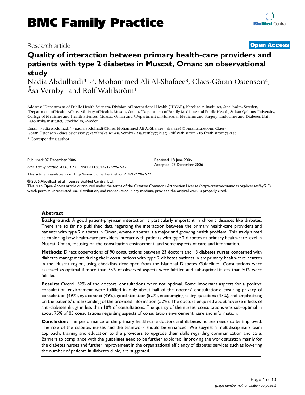 Quality of interaction between primary health-care providers and