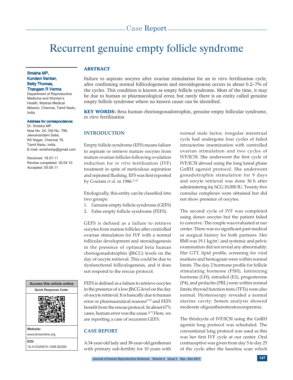 Recurrent genuine empty follicle syndrome – topic of research paper