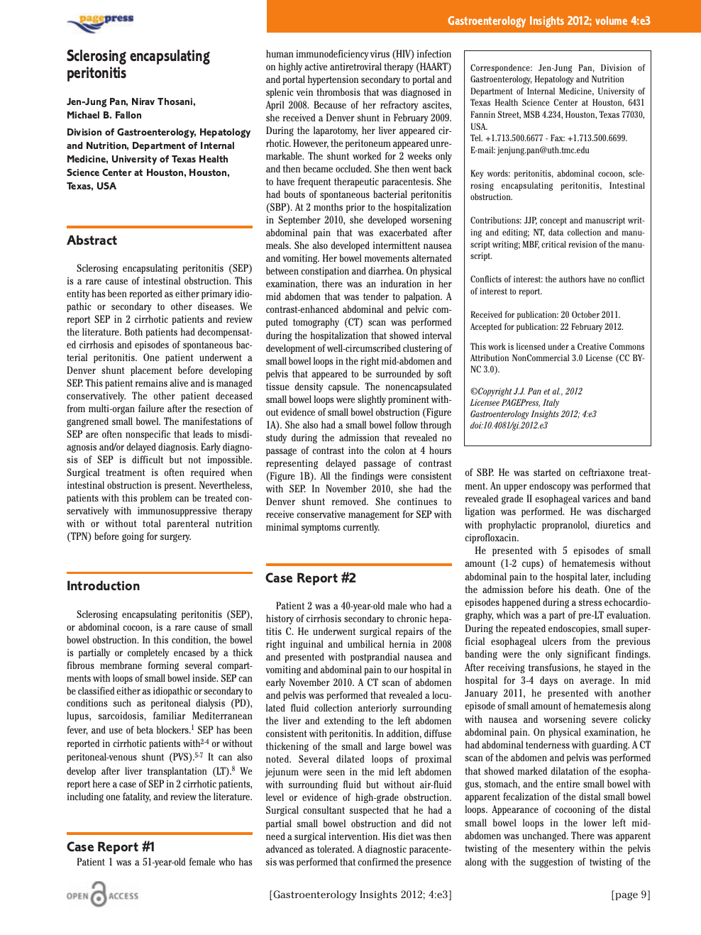 Sclerosing encapsulating peritonitis – topic of research
