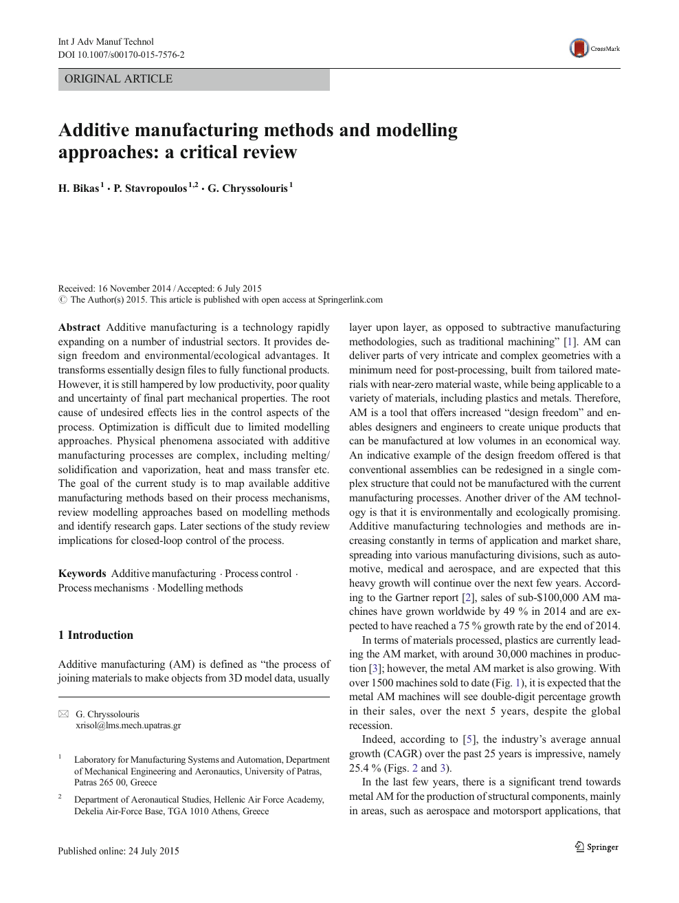 Additive manufacturing methods and modelling approaches: a