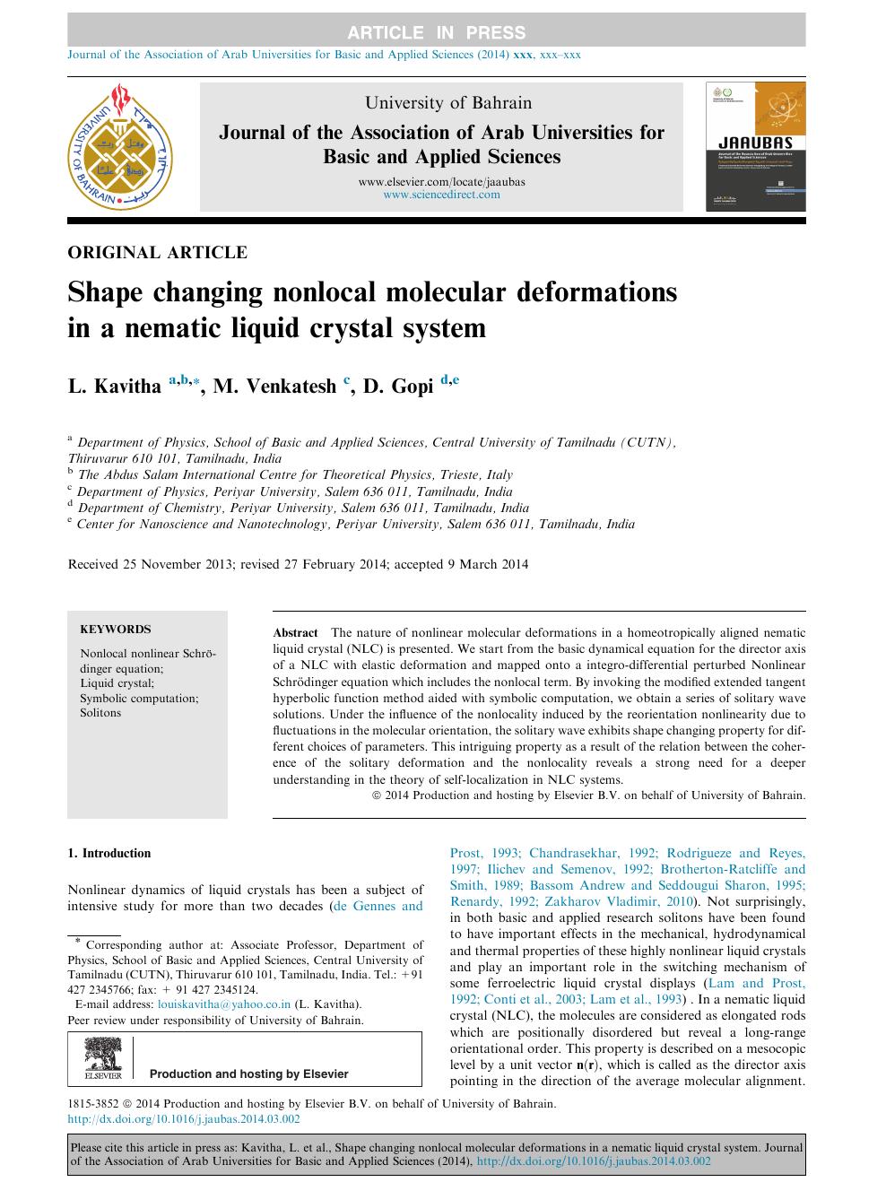 Shape changing nonlocal molecular deformations in a nematic liquid