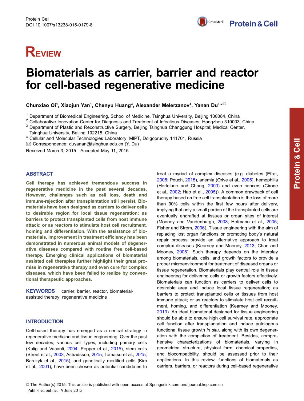 Biomaterials as carrier, barrier and reactor for cell-based