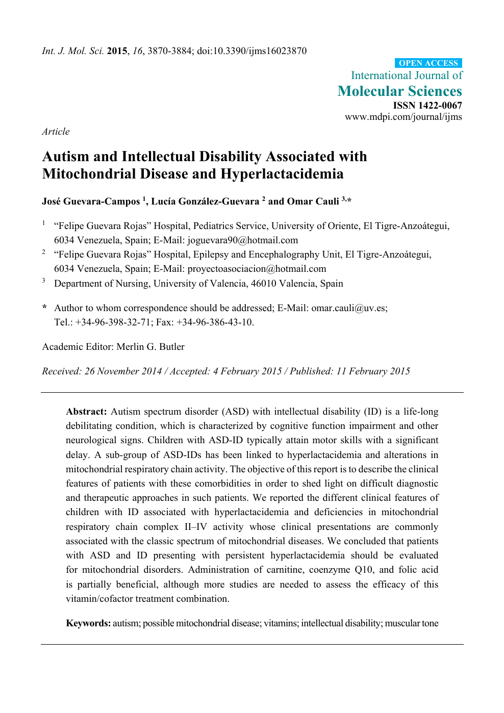 Autism and Intellectual Disability Associated with