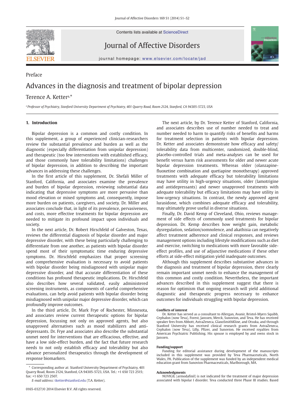 Advances in the diagnosis and treatment of bipolar