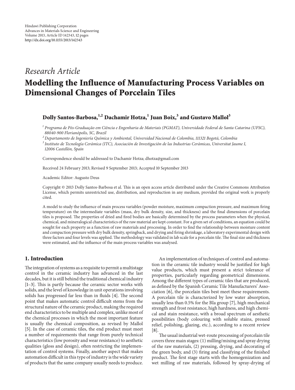 Modelling the Influence of Manufacturing Process Variables on