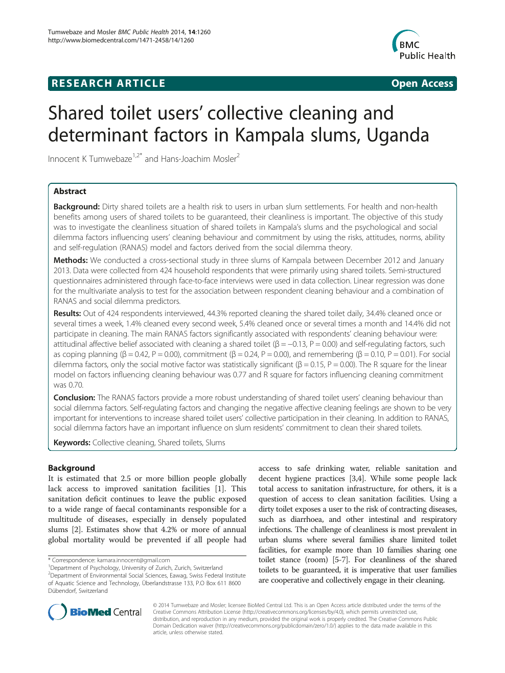 Shared toilet users' collective cleaning and determinant factors in