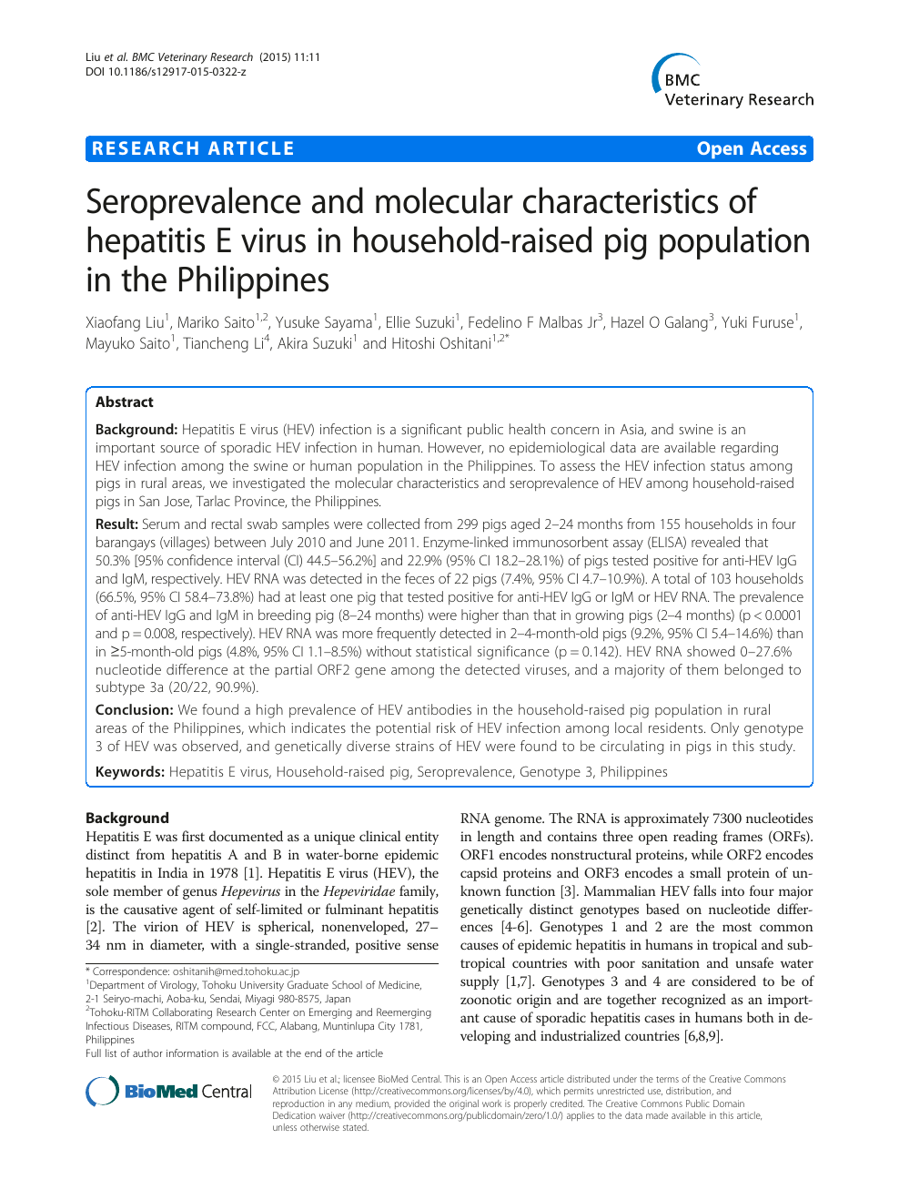 Seroprevalence and molecular characteristics of hepatitis E virus in