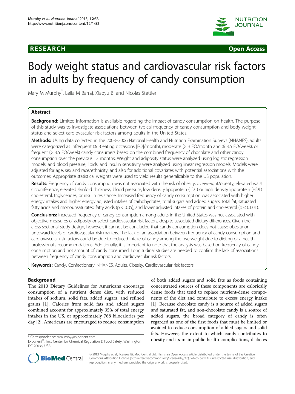Body Weight Status And Cardiovascular Risk Factors In Adults By