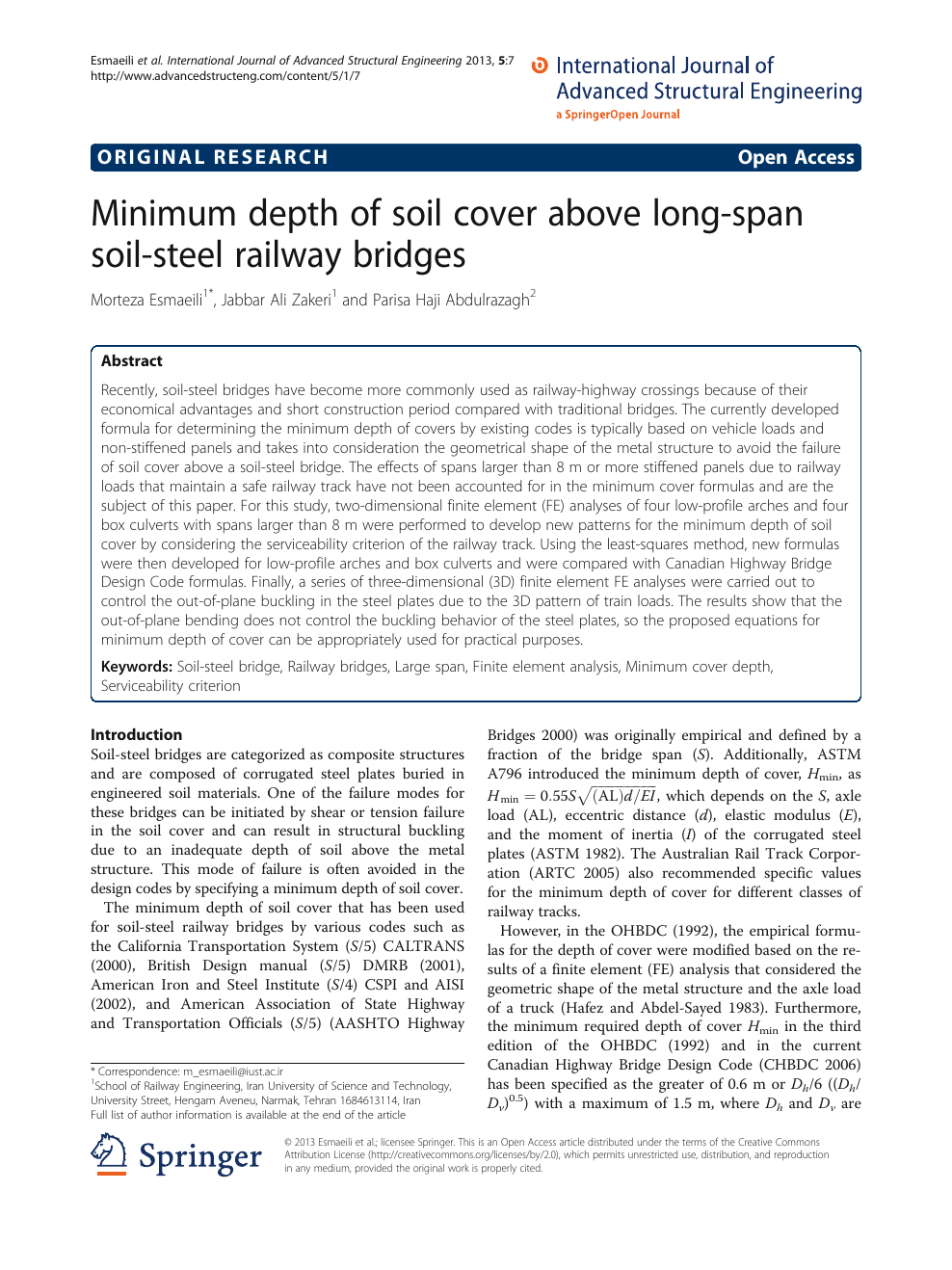 Minimum depth of soil cover above long-span soil-steel