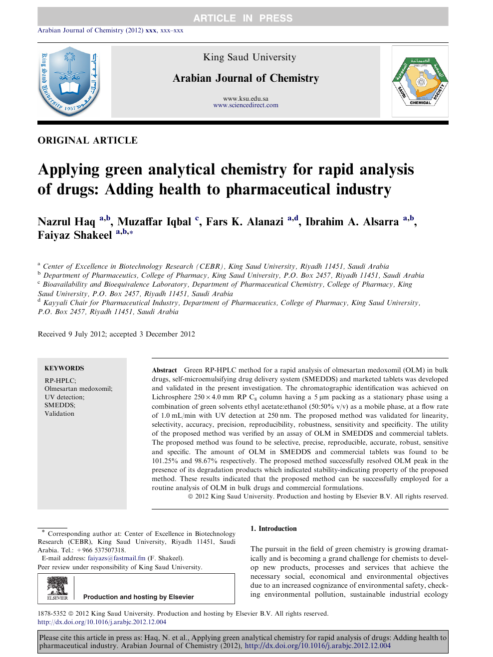 Applying green analytical chemistry for rapid analysis of