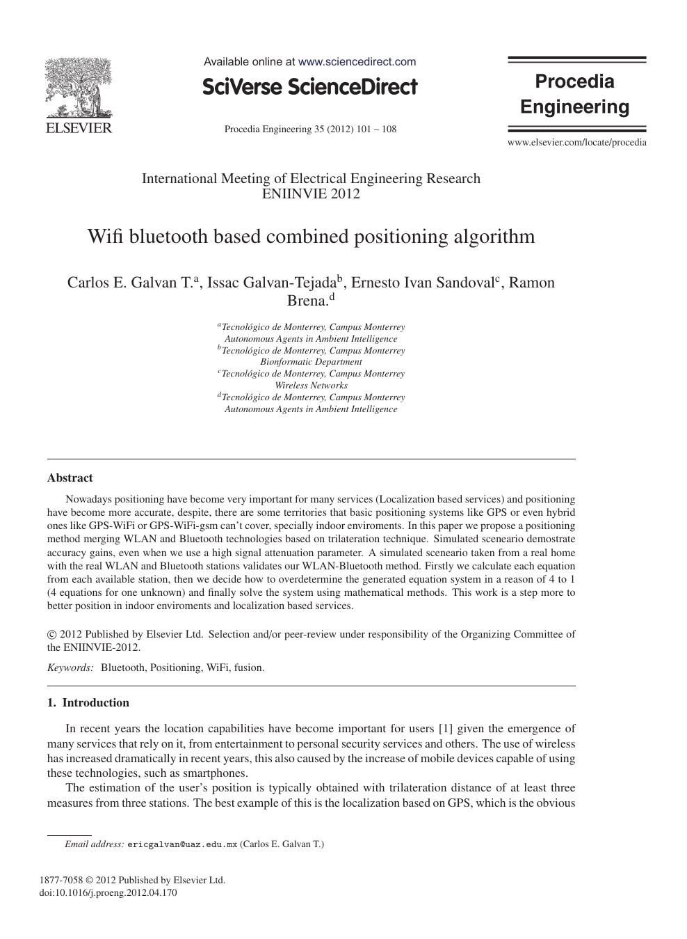 Wifi bluetooth based combined positioning algorithm – topic