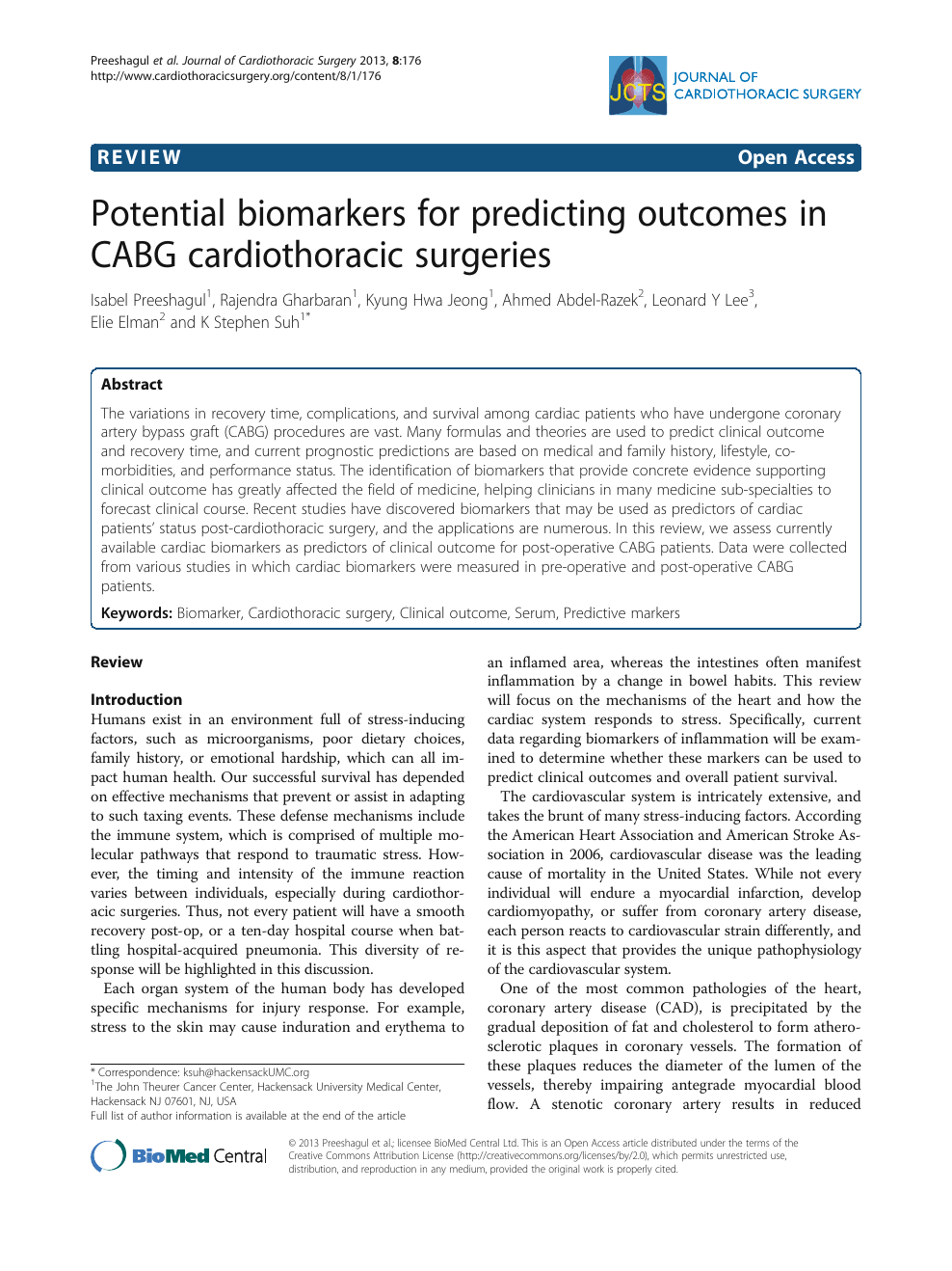 Potential Biomarkers For Predicting Outcomes In Cabg Cardiothoracic Surgeries Topic Of Research Paper In Clinical Medicine Download Scholarly Article Pdf And Read For Free On Cyberleninka Open Science Hub