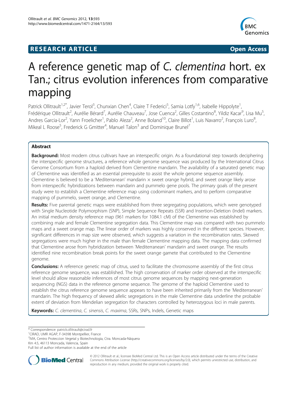 Www Cia Corse Fr a reference genetic map of c. clementina hort. ex tan
