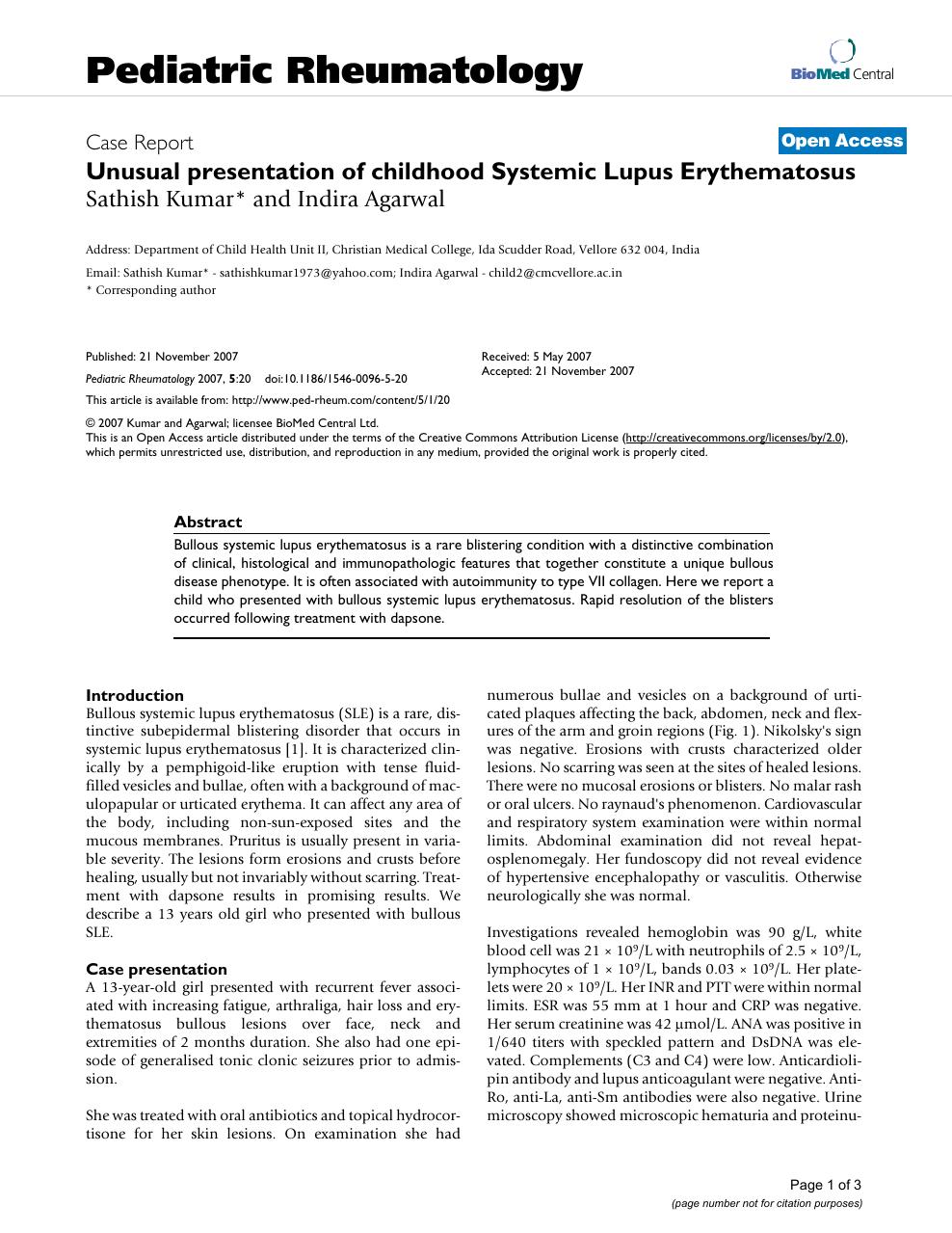 Unusual presentation of childhood Systemic Lupus