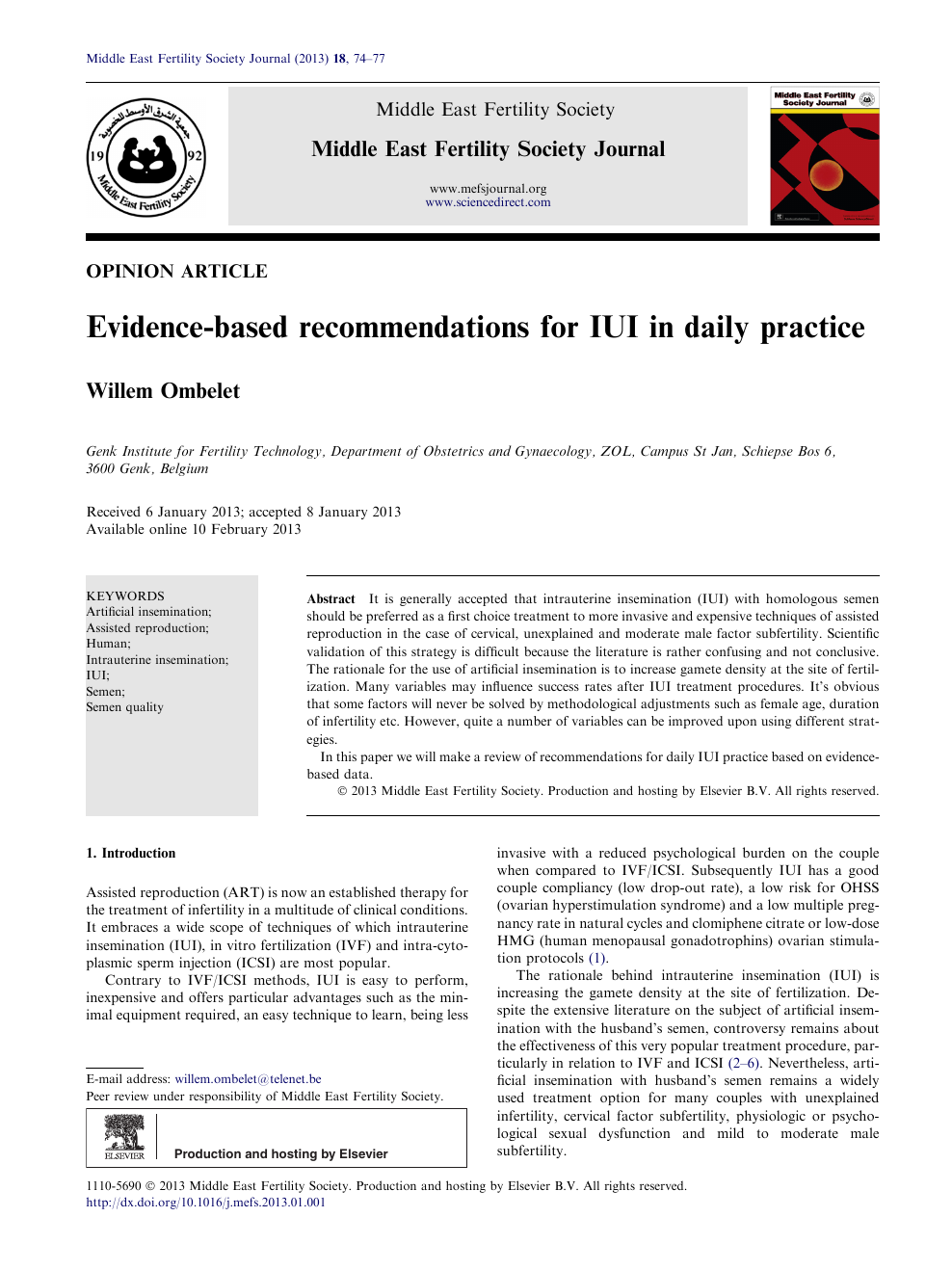 Evidence-based recommendations for IUI in daily practice