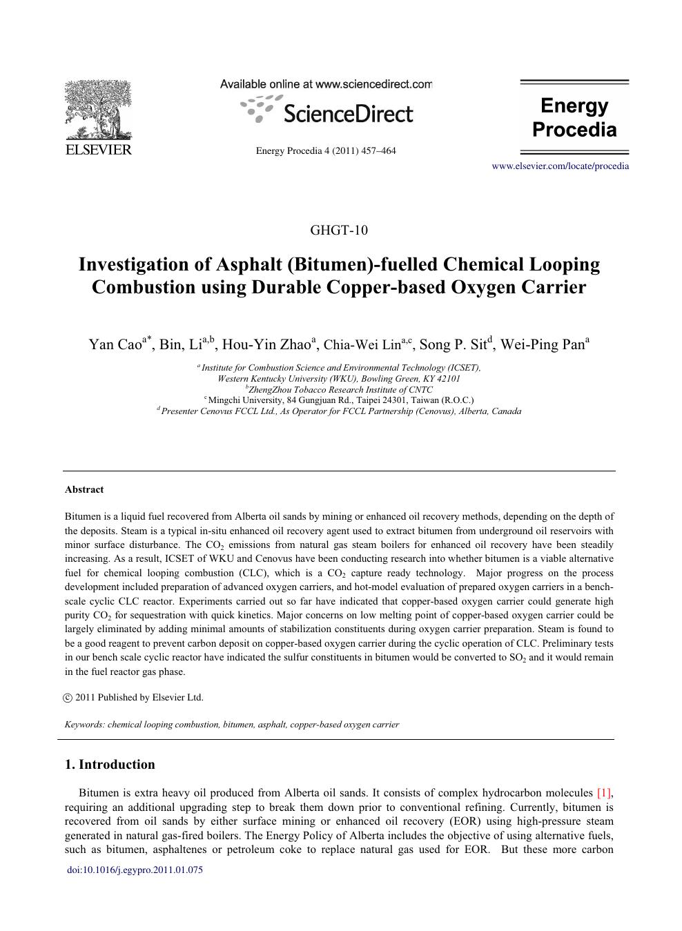 Investigation of asphalt (bitumen)-fuelled chemical looping