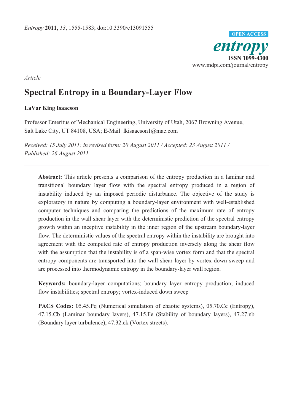 Spectral Entropy in a Boundary-Layer Flow – topic of research paper