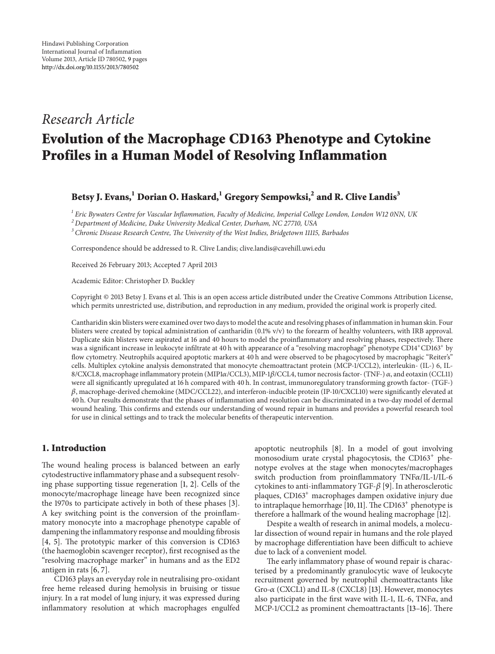 Evolution Of The Macrophage Cd163 Phenotype And Cytokine Profiles In A Human Model Of Resolving Inflammation Topic Of Research Paper In Clinical Medicine Download Scholarly Article Pdf And Read For Free