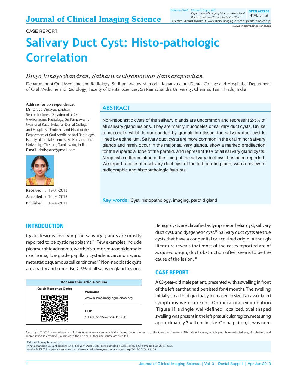 Salivary Duct Cyst: Histo-pathologic Correlation – topic of