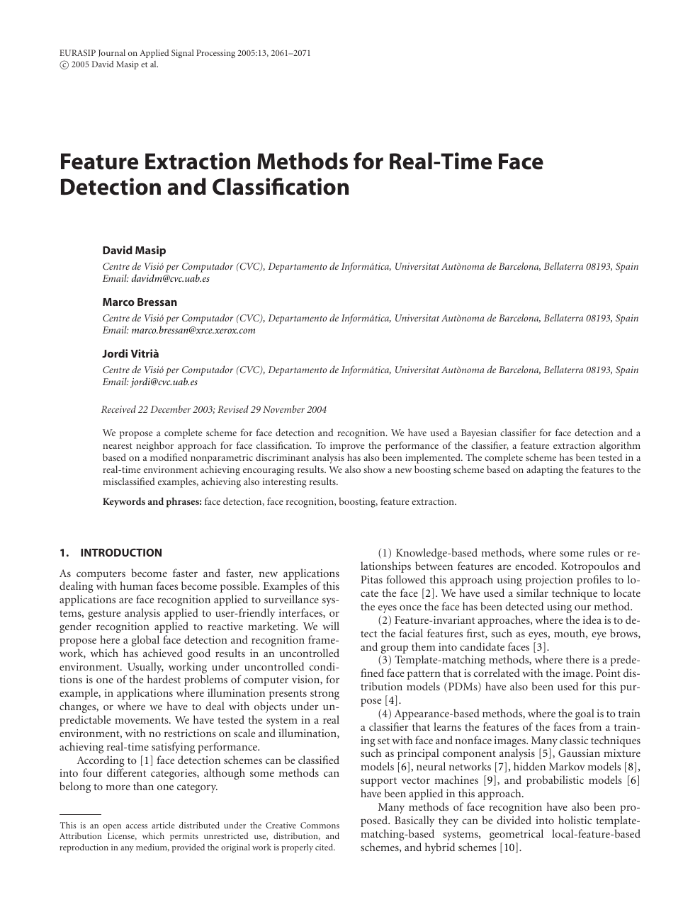 Feature Extraction Methods for Real-Time Face Detection and
