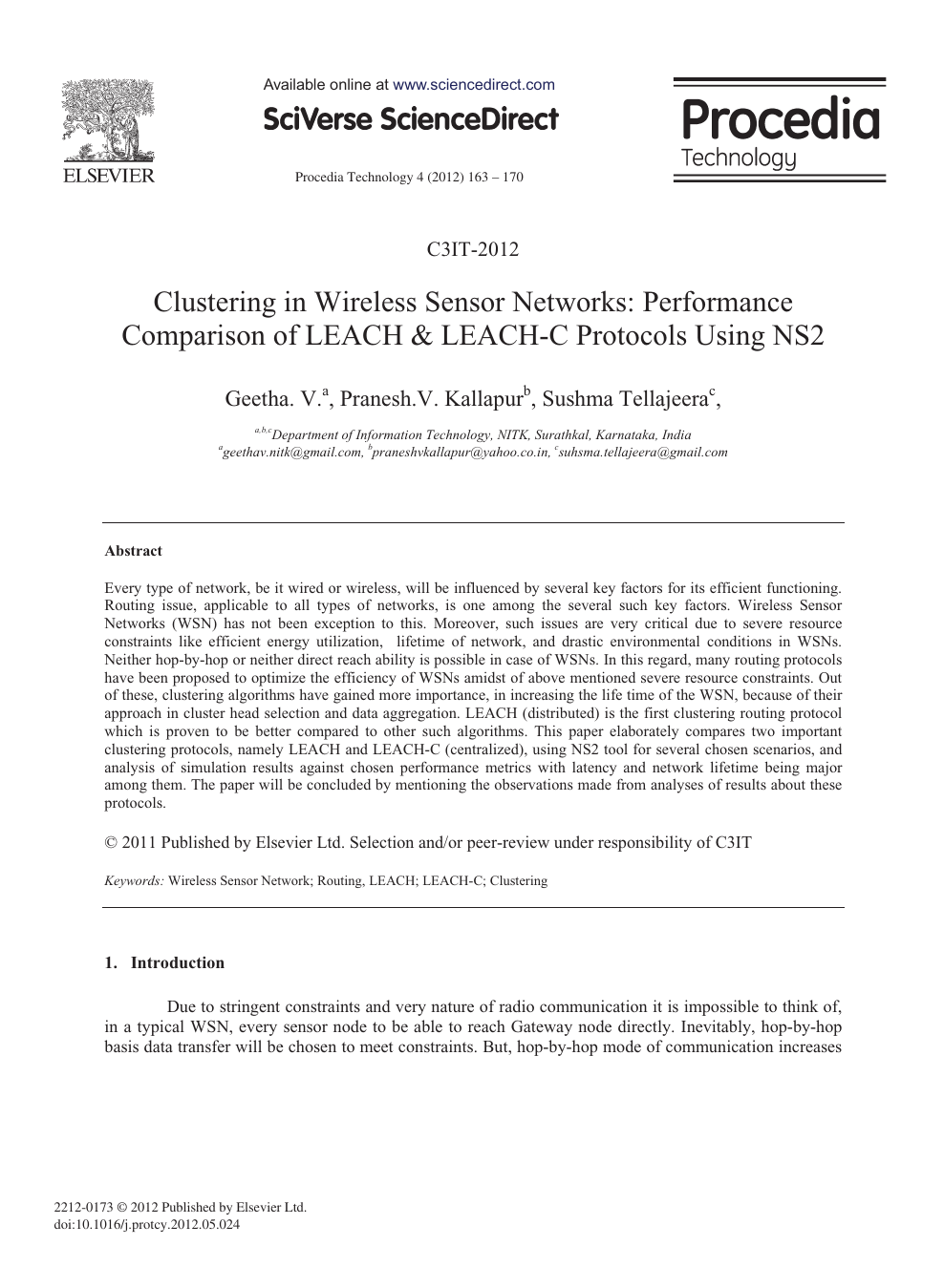 Clustering in Wireless Sensor Networks: Performance