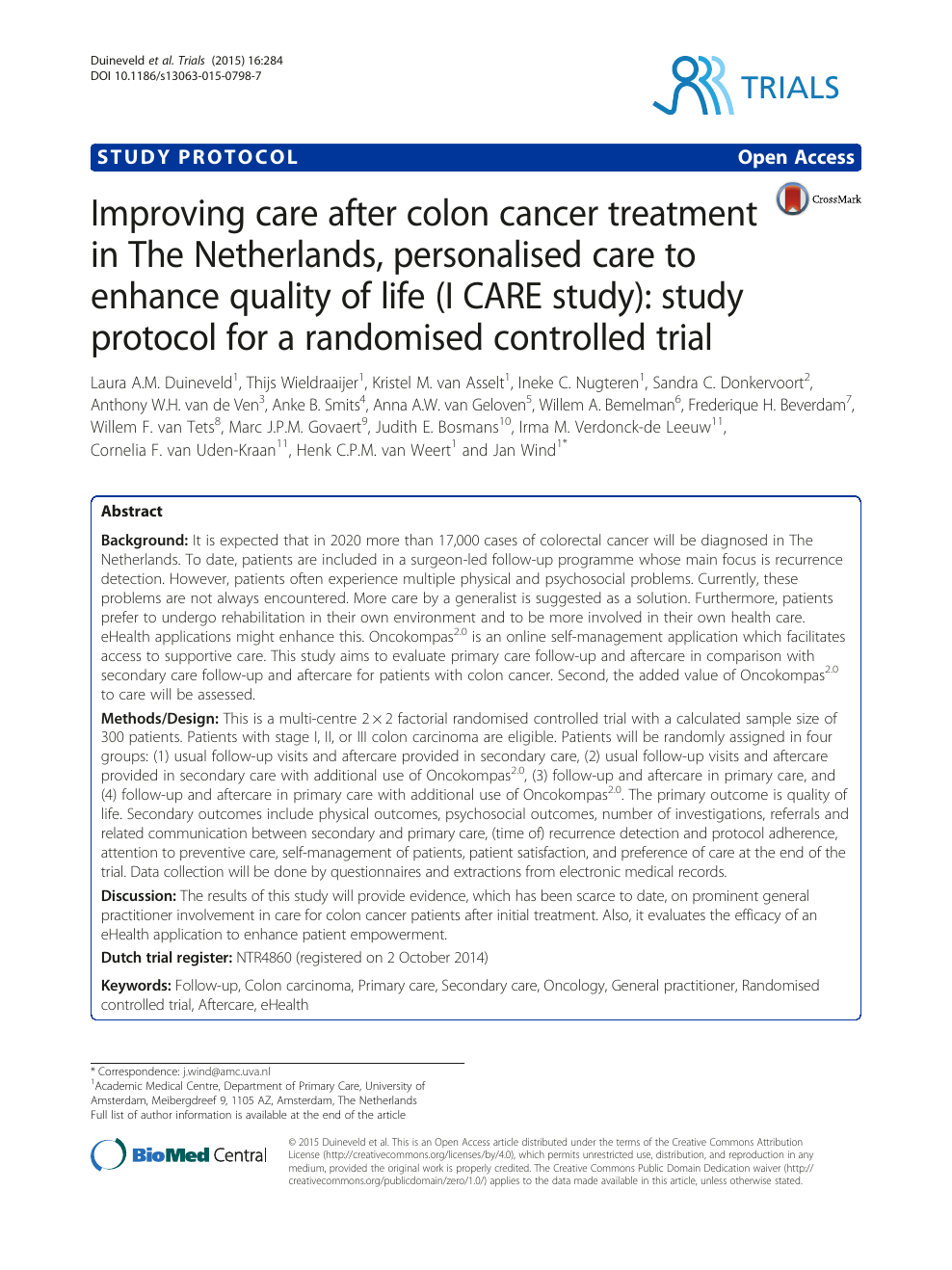 Improving Care After Colon Cancer Treatment In The Netherlands Personalised Care To Enhance Quality Of Life I Care Study Study Protocol For A Randomised Controlled Trial Topic Of Research Paper In