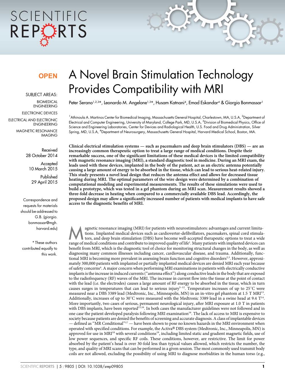 A Novel Brain Stimulation Technology Provides Compatibility with MRI