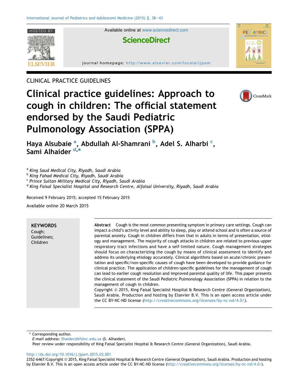 Clinical practice guidelines: Approach to cough in children