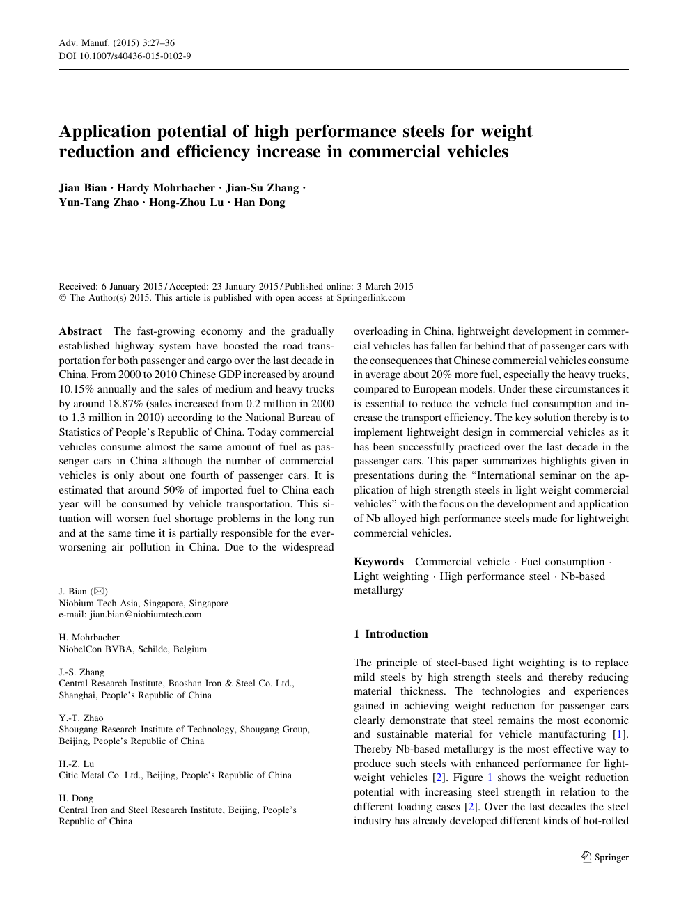 Application Potential Of High Performance Steels For Weight Reduction And Efficiency Increase In Commercial Vehicles Topic Of Research Paper In Materials Engineering Download Scholarly Article Pdf And Read For Free On