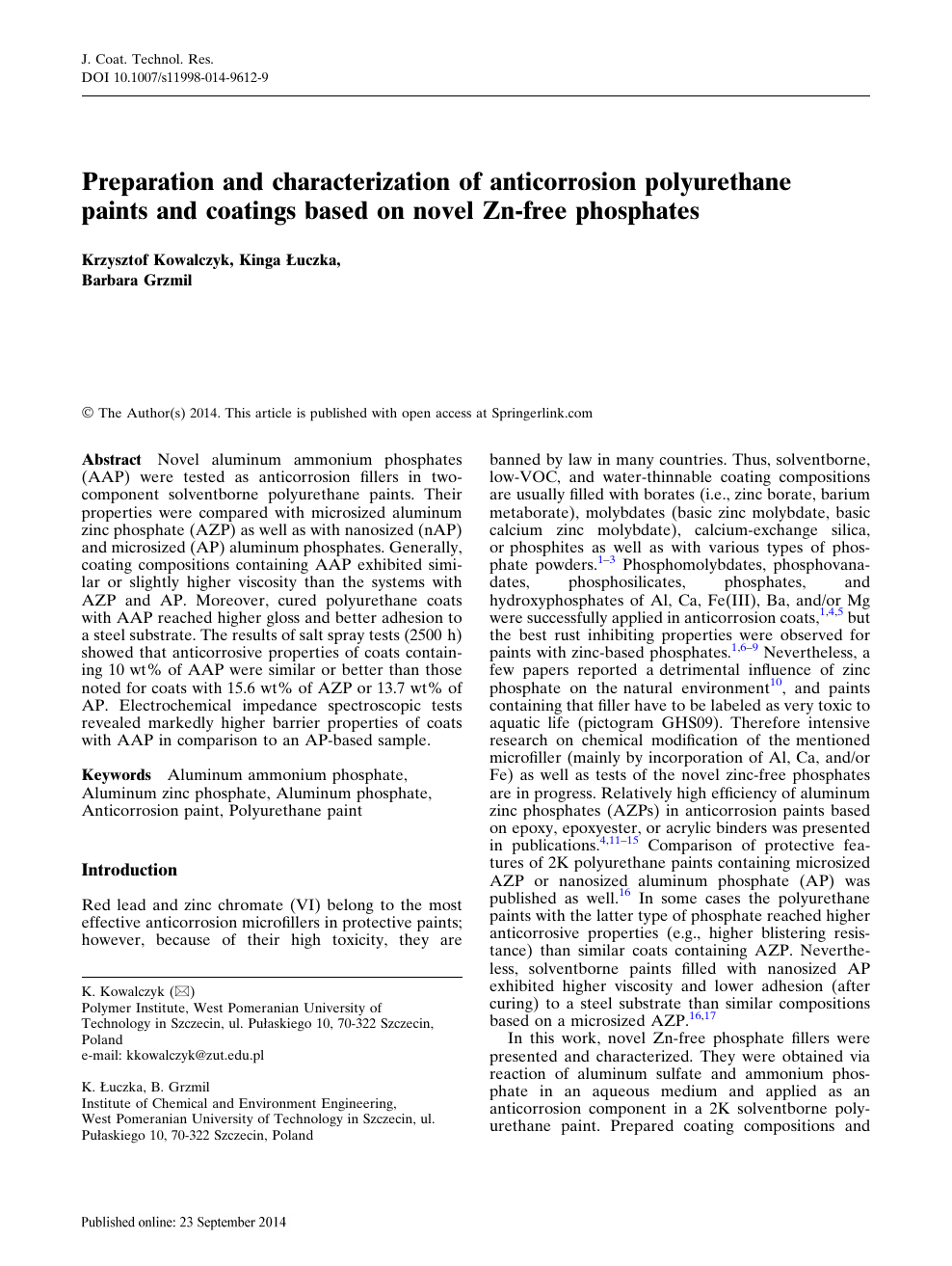 Preparation and characterization of anticorrosion polyurethane