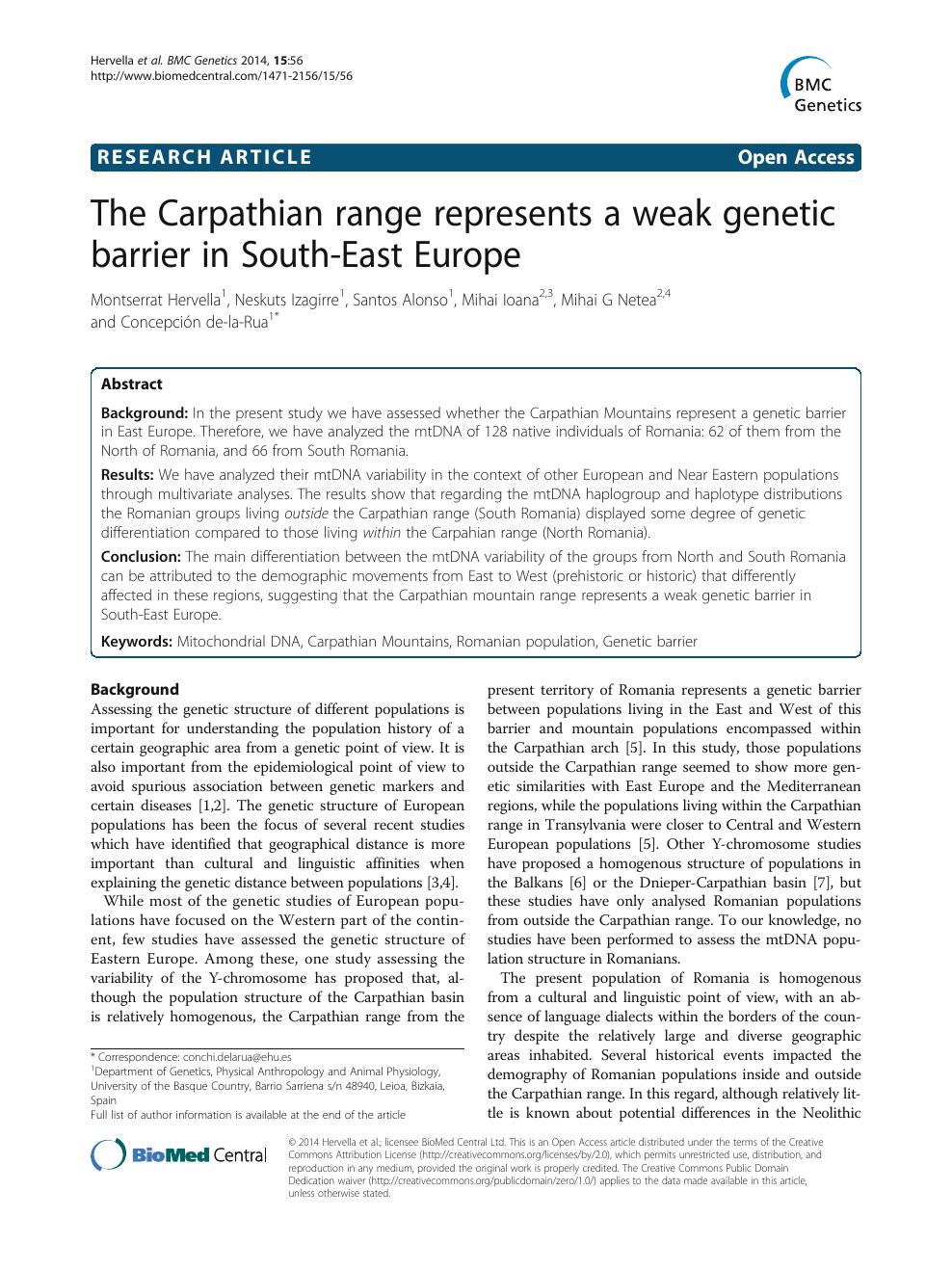 The Carpathian range represents a weak genetic barrier in South-East