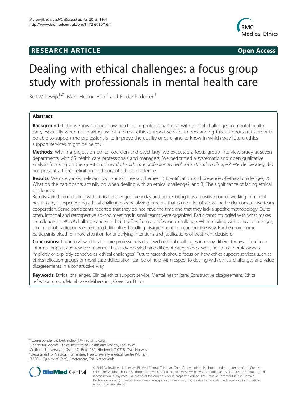 Dealing with ethical challenges: a focus group study with