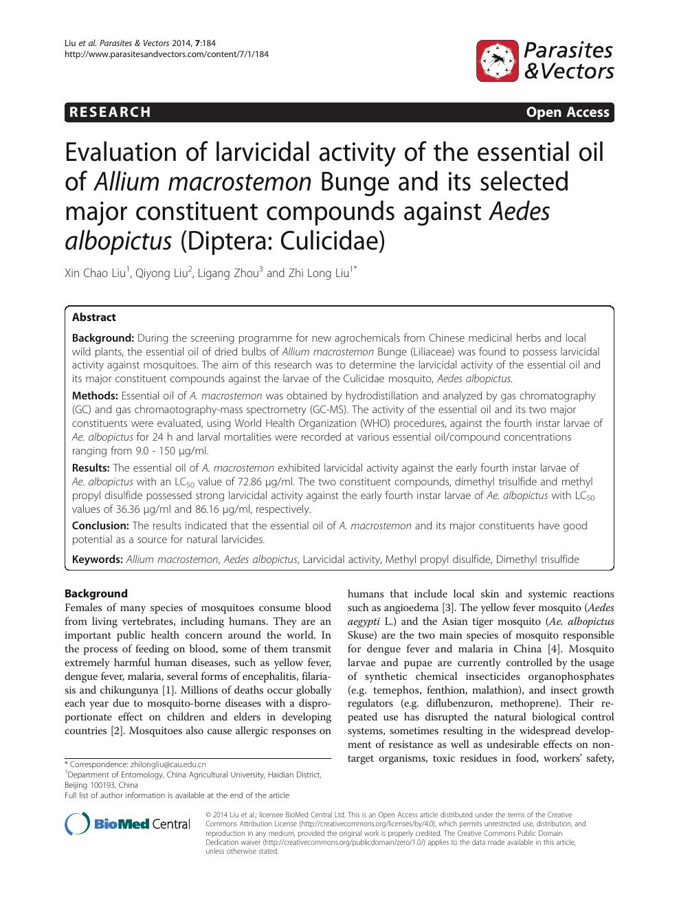 Evaluation of larvicidal activity of the essential oil of Allium