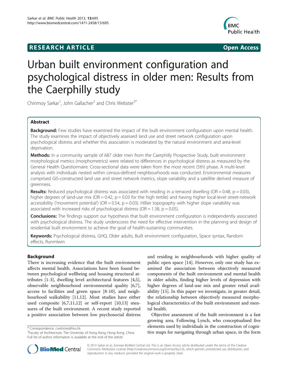 Urban built environment configuration and psychological