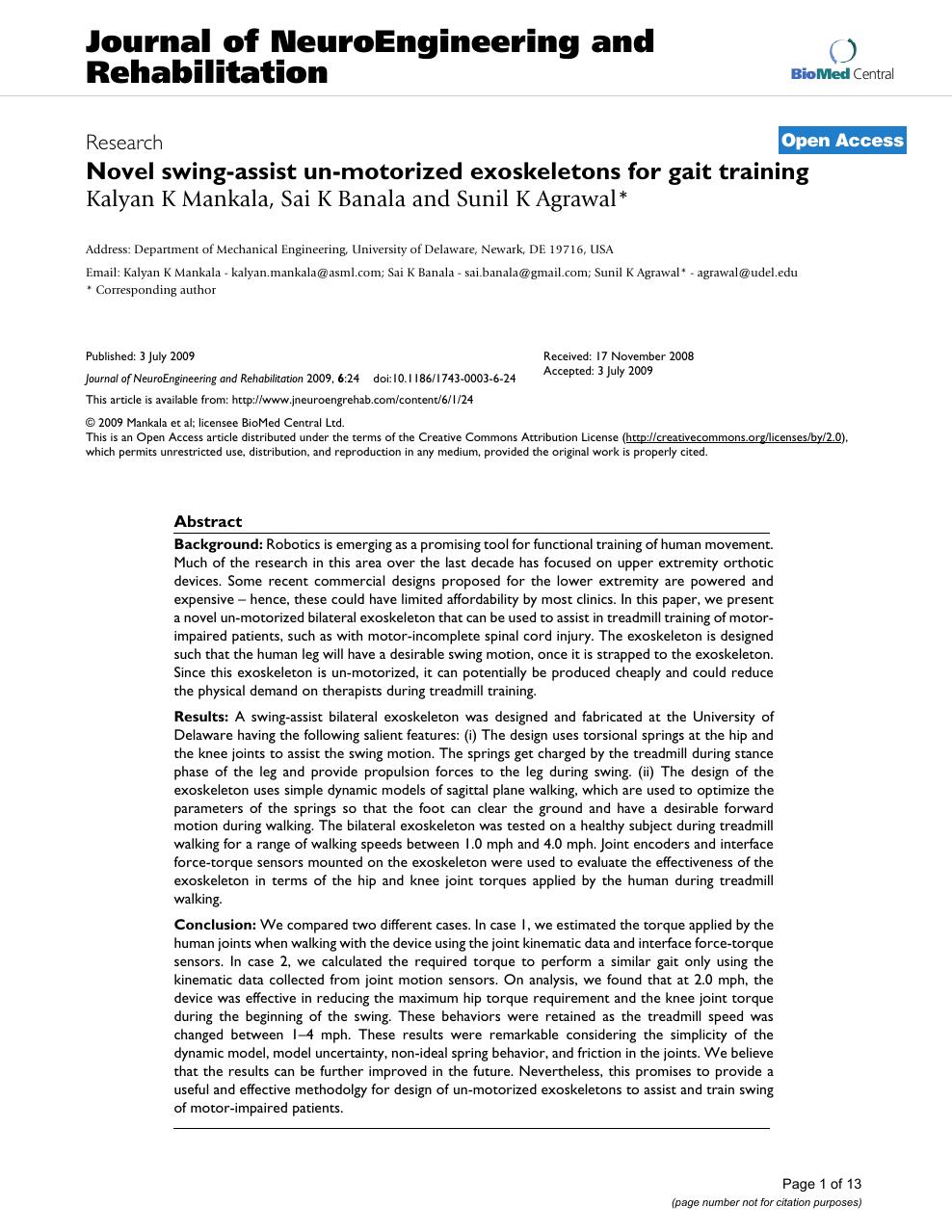 Novel swing-assist un-motorized exoskeletons for gait