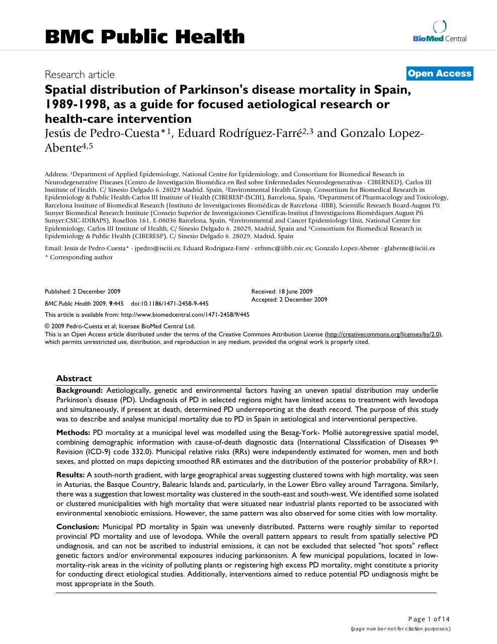 Spatial Distribution Of Parkinson S Disease Mortality In