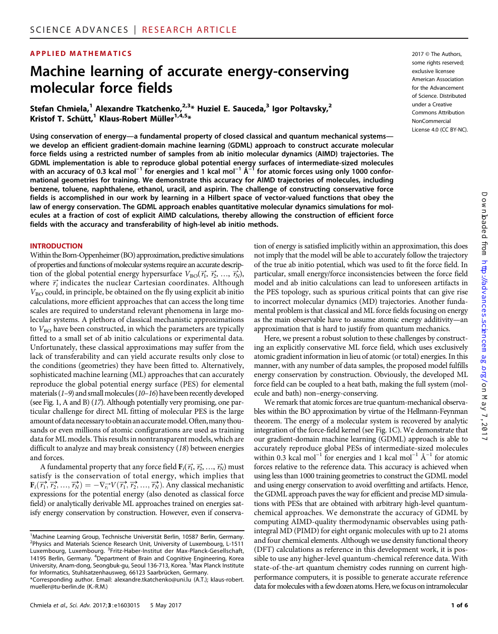 Machine learning of accurate energy-conserving molecular