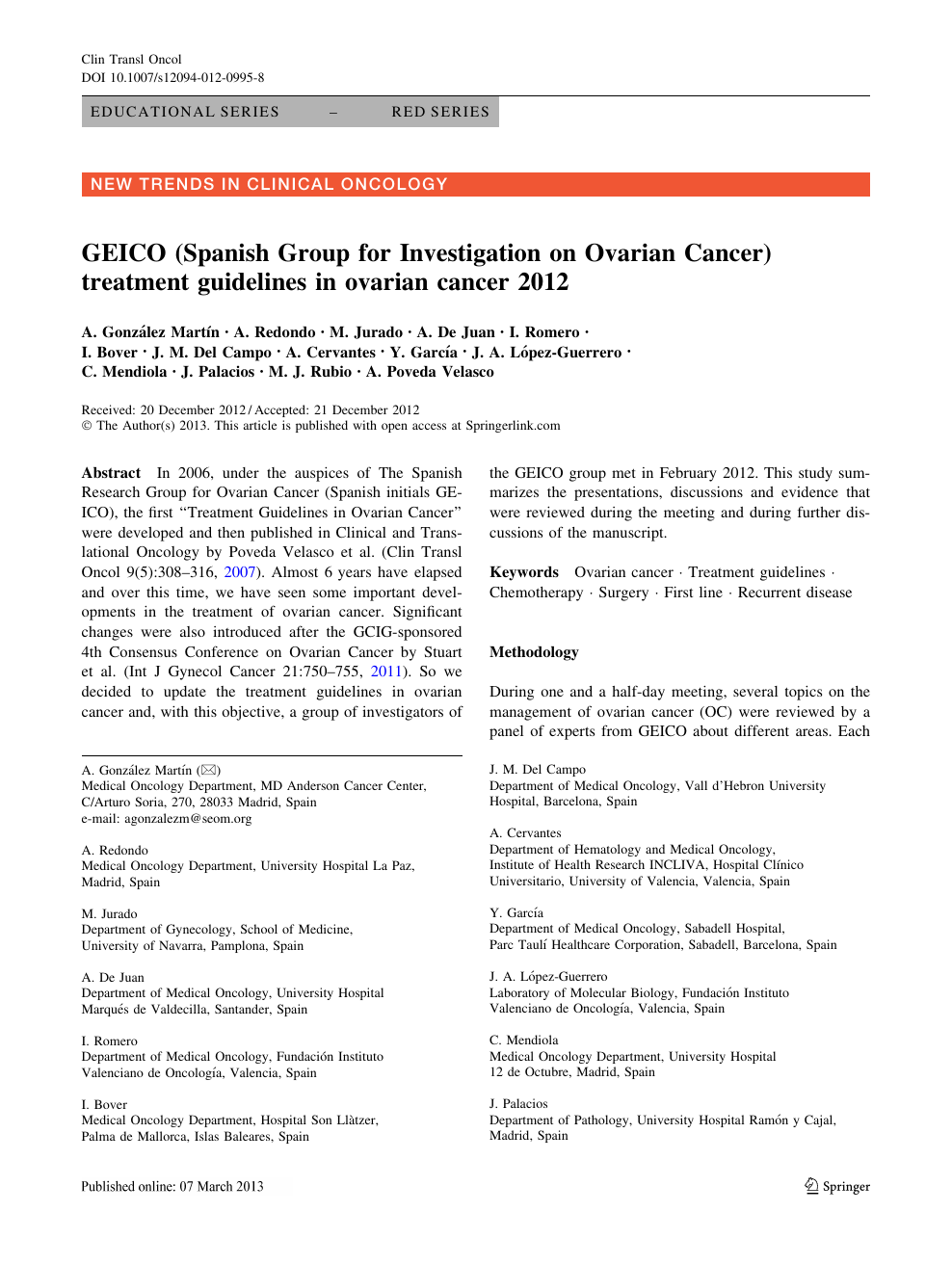Geico Spanish Group For Investigation On Ovarian Cancer Treatment Guidelines In Ovarian Cancer 2012 Topic Of Research Paper In Clinical Medicine Download Scholarly Article Pdf And Read For Free On Cyberleninka