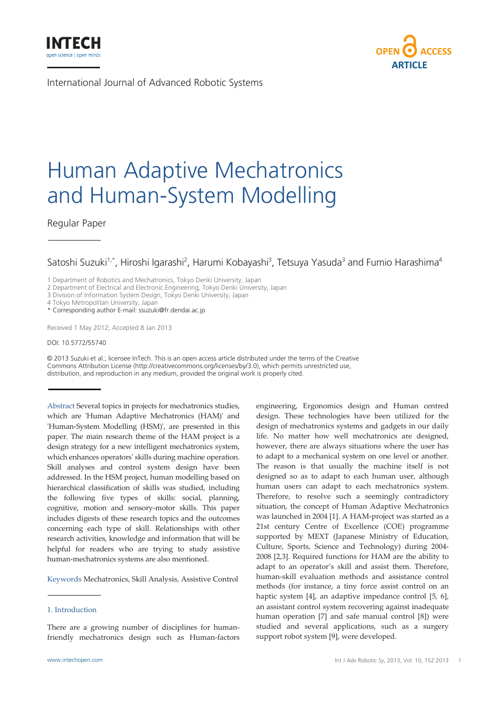 Human Adaptive Mechatronics And Human System Modelling Topic Of Research Paper In Psychology Download Scholarly Article Pdf And Read For Free On Cyberleninka Open Science Hub