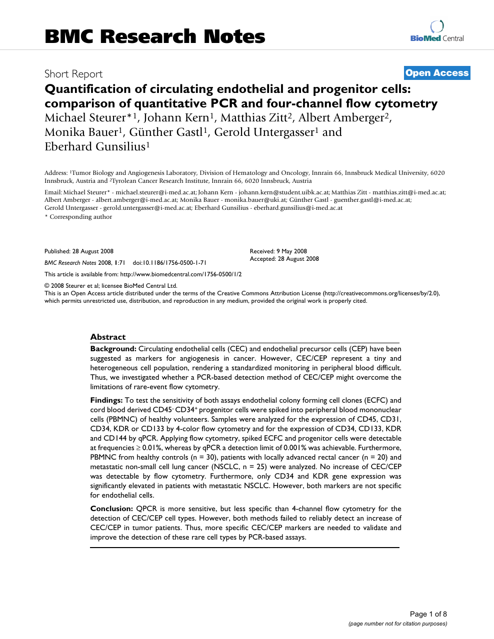 Quantification of circulating endothelial and progenitor