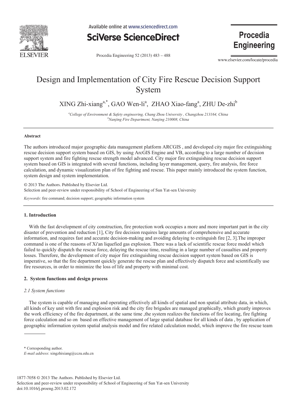 Design and Implementation of City Fire Rescue Decision