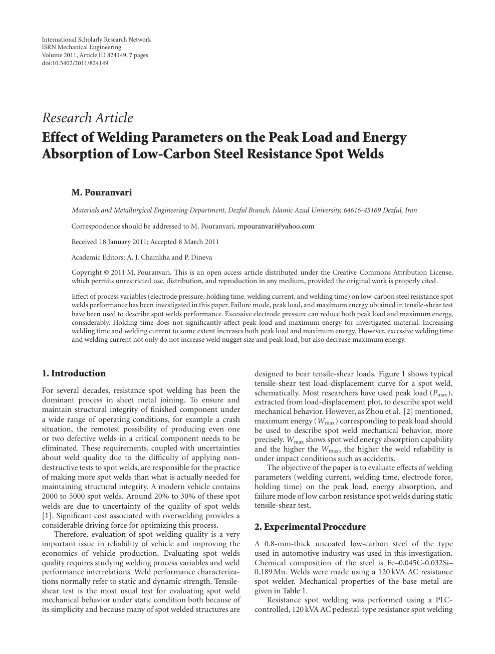Effect of Welding Parameters on the Peak Load and Energy Absorption