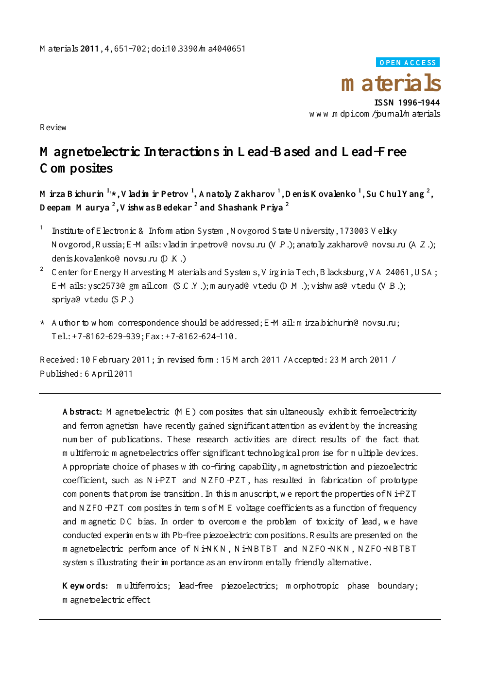 Magnetoelectric Interactions in Lead-Based and Lead-Free Composites