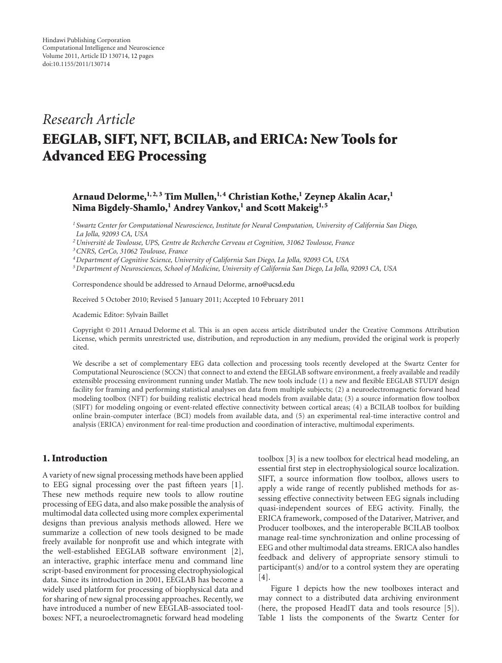 EEGLAB, SIFT, NFT, BCILAB, and ERICA: New Tools for Advanced EEG