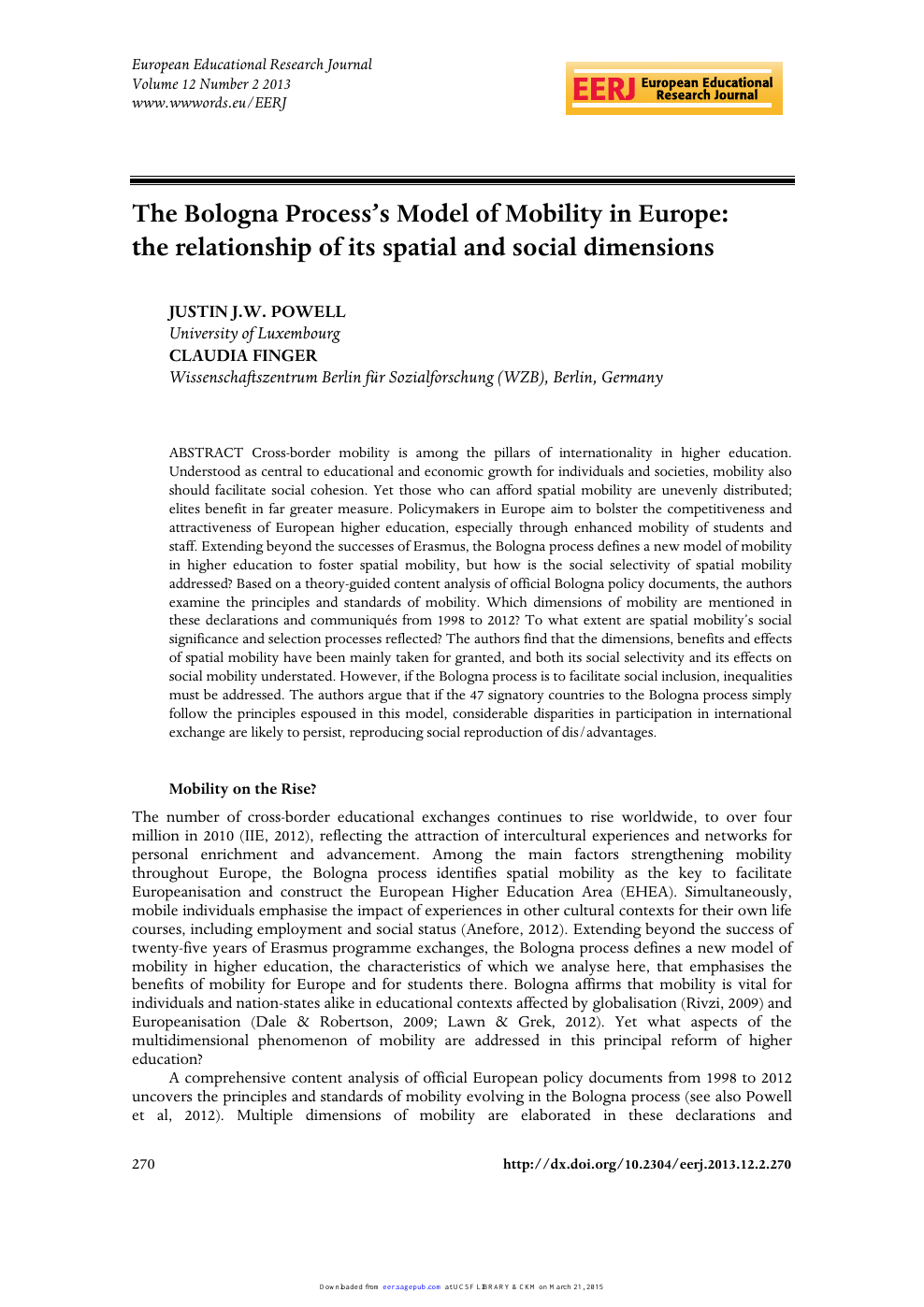 The Bologna Process's Model of Mobility in Europe: the
