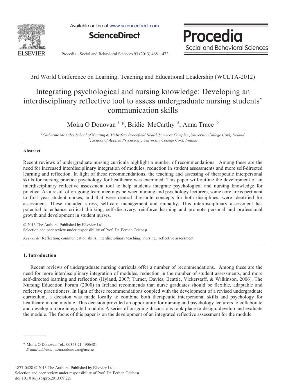 Integrating Psychological and Nursing Knowledge: Developing