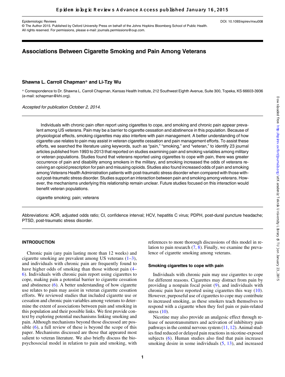 Associations Between Cigarette Smoking and Pain Among