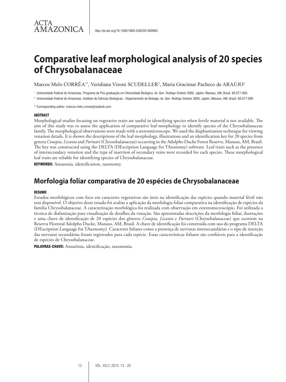 a469120d9663 Comparative leaf morphological analysis of 20 species of ...